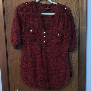 Red leopard tunic